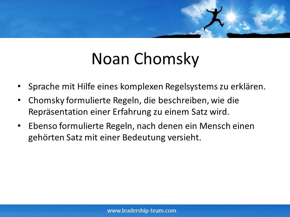 www.leadership-team.com Noan Chomsky Sprache mit Hilfe eines komplexen Regelsystems zu erklären. Chomsky formulierte Regeln, die beschreiben, wie die