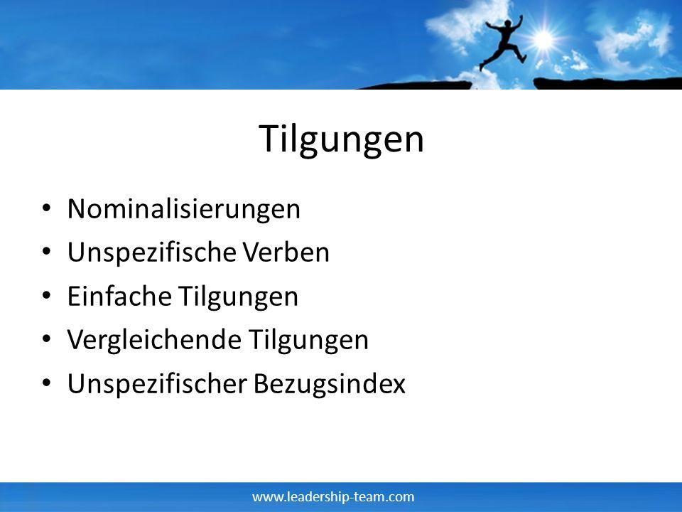 www.leadership-team.com Tilgungen Nominalisierungen Unspezifische Verben Einfache Tilgungen Vergleichende Tilgungen Unspezifischer Bezugsindex