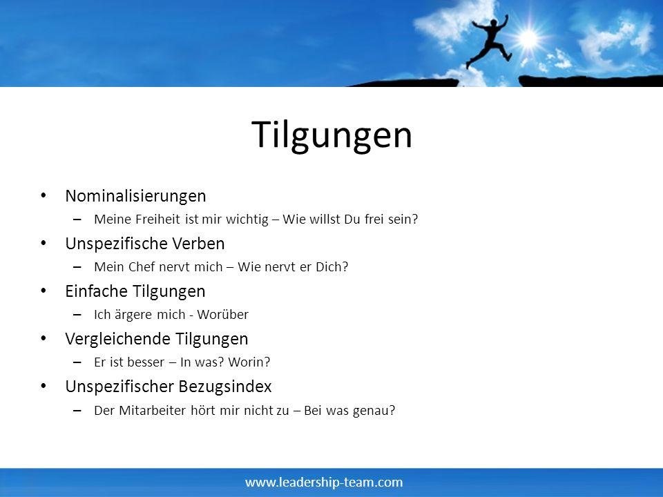 www.leadership-team.com Tilgungen Nominalisierungen – Meine Freiheit ist mir wichtig – Wie willst Du frei sein? Unspezifische Verben – Mein Chef nervt