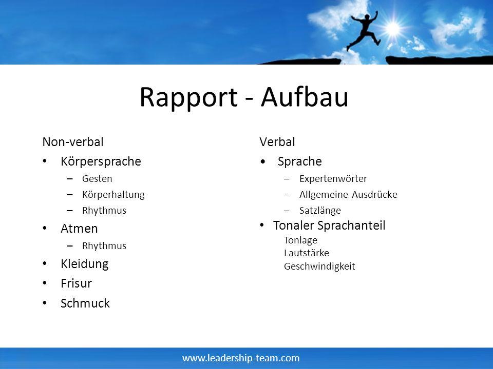 www.leadership-team.com Rapport - Aufbau Non-verbal Körpersprache – Gesten – Körperhaltung – Rhythmus Atmen – Rhythmus Kleidung Frisur Schmuck Verbal