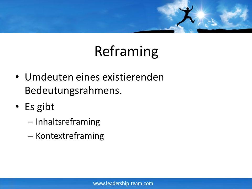 www.leadership-team.com Reframing Umdeuten eines existierenden Bedeutungsrahmens. Es gibt – Inhaltsreframing – Kontextreframing