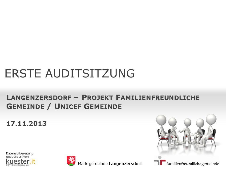 Datenaufbereitung gesponsert von Marktgemeinde Langenzersdorf ERSTE AUDITSITZUNG L ANGENZERSDORF – P ROJEKT F AMILIENFREUNDLICHE G EMEINDE / U NICEF G EMEINDE 17.11.2013