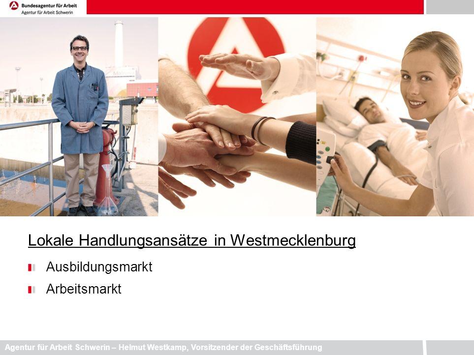 Agentur für Arbeit Schwerin – Helmut Westkamp, Vorsitzender der Geschäftsführung Lokale Handlungsansätze in Westmecklenburg Ausbildungsmarkt Arbeitsma