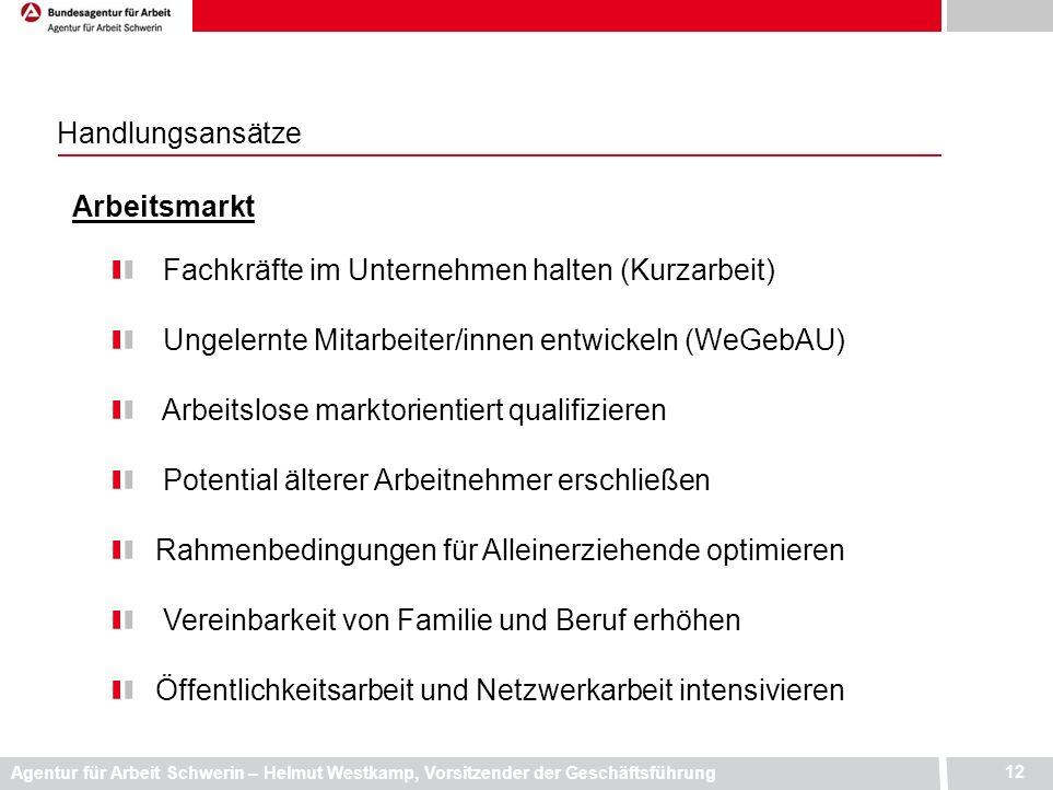 Agentur für Arbeit Schwerin – Helmut Westkamp, Vorsitzender der Geschäftsführung 12 Handlungsansätze Arbeitsmarkt Fachkräfte im Unternehmen halten (Ku