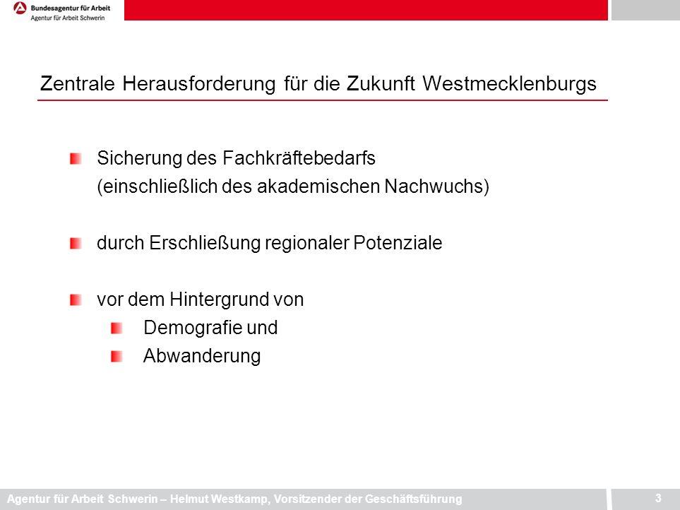 Agentur für Arbeit Schwerin – Helmut Westkamp, Vorsitzender der Geschäftsführung 3 Sicherung des Fachkräftebedarfs (einschließlich des akademischen Na
