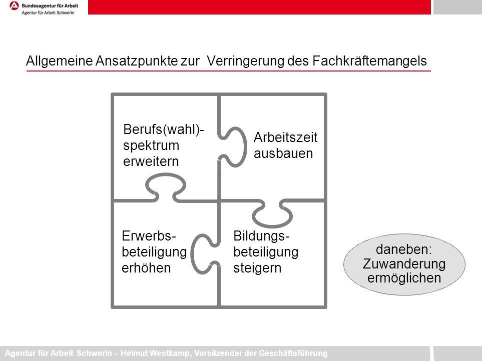 Agentur für Arbeit Schwerin – Helmut Westkamp, Vorsitzender der Geschäftsführung Allgemeine Ansatzpunkte zur Verringerung des Fachkräftemangels Berufs