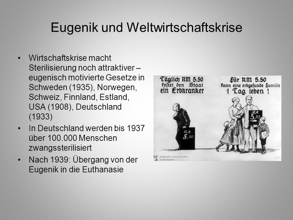 Eugenik und Weltwirtschaftskrise Wirtschaftskrise macht Sterilisierung noch attraktiver – eugenisch motivierte Gesetze in Schweden (1935), Norwegen, S