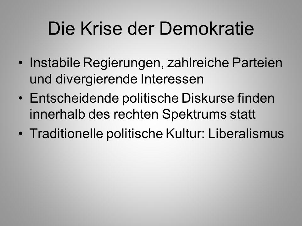 Die Krise der Demokratie Instabile Regierungen, zahlreiche Parteien und divergierende Interessen Entscheidende politische Diskurse finden innerhalb de