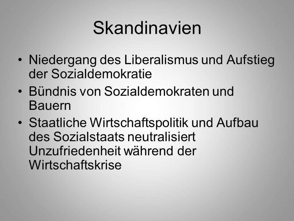 Skandinavien Niedergang des Liberalismus und Aufstieg der Sozialdemokratie Bündnis von Sozialdemokraten und Bauern Staatliche Wirtschaftspolitik und A