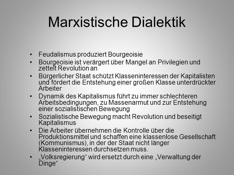 Marxistische Dialektik Feudalismus produziert Bourgeoisie Bourgeoisie ist verärgert über Mangel an Privilegien und zettelt Revolution an Bürgerlicher