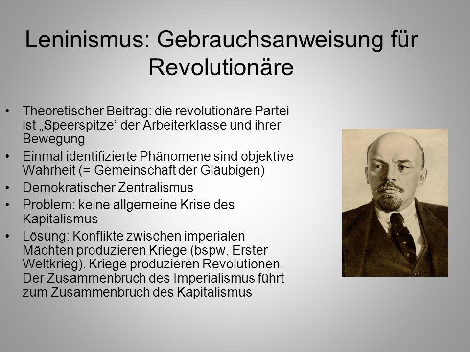 Leninismus: Gebrauchsanweisung für Revolutionäre Theoretischer Beitrag: die revolutionäre Partei ist Speerspitze der Arbeiterklasse und ihrer Bewegung