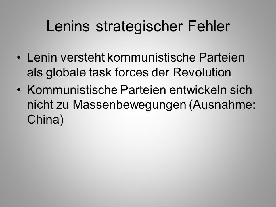 Lenins strategischer Fehler Lenin versteht kommunistische Parteien als globale task forces der Revolution Kommunistische Parteien entwickeln sich nich