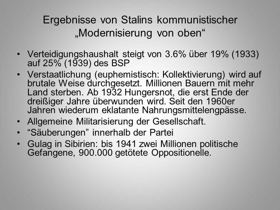 Ergebnisse von Stalins kommunistischer Modernisierung von oben Verteidigungshaushalt steigt von 3.6% über 19% (1933) auf 25% (1939) des BSP Verstaatli