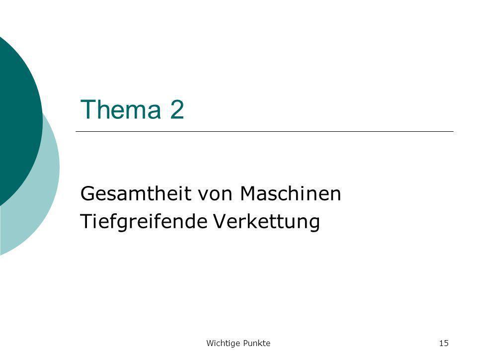 Wichtige Punkte15 Thema 2 Gesamtheit von Maschinen Tiefgreifende Verkettung