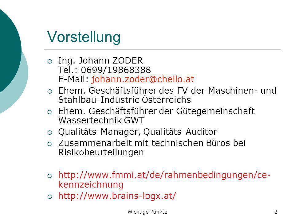 Wichtige Punkte2 Vorstellung Ing. Johann ZODER Tel.: 0699/19868388 E-Mail: johann.zoder@chello.at Ehem. Gesch ä ftsf ü hrer des FV der Maschinen- und
