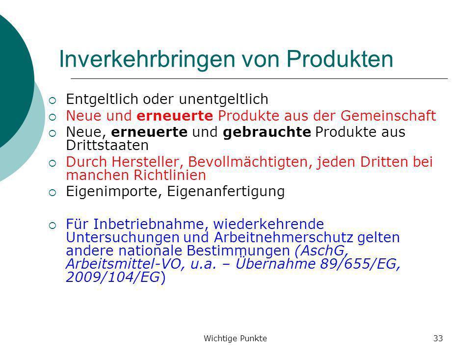 Wichtige Punkte33 Inverkehrbringen von Produkten Entgeltlich oder unentgeltlich Neue und erneuerte Produkte aus der Gemeinschaft Neue, erneuerte und g