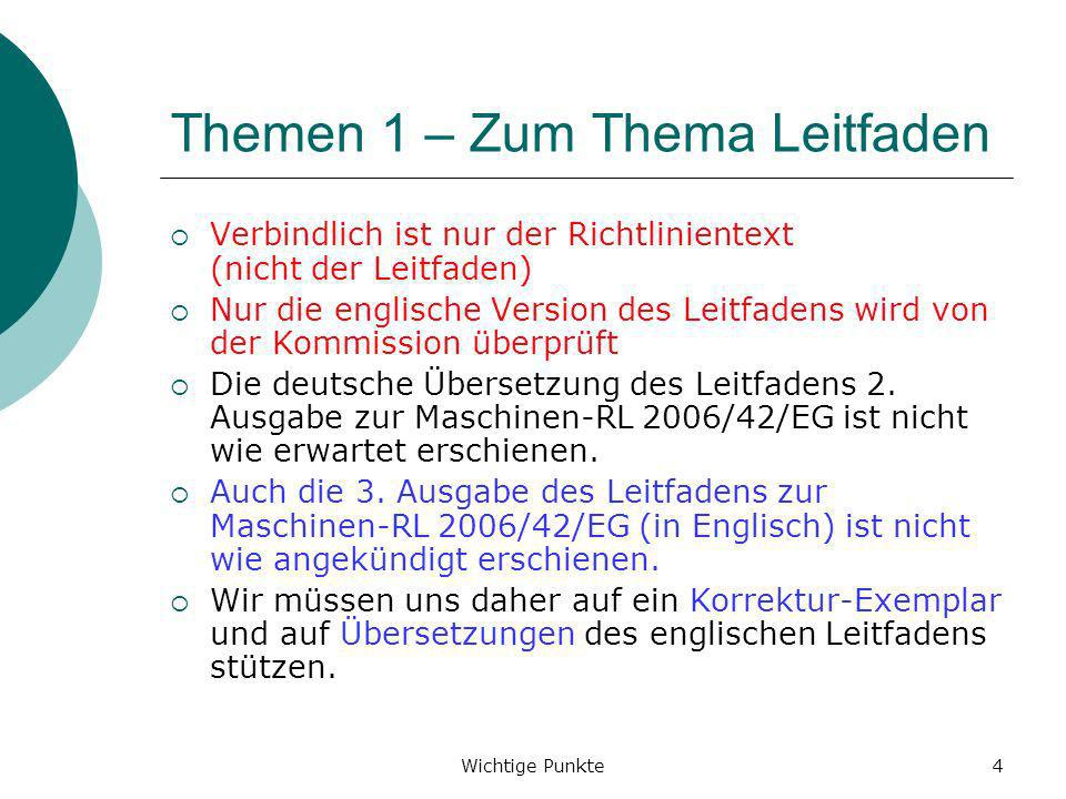 Wichtige Punkte5 Themen 2 1.Unterschied Maschine / unvollständige Maschine 2.