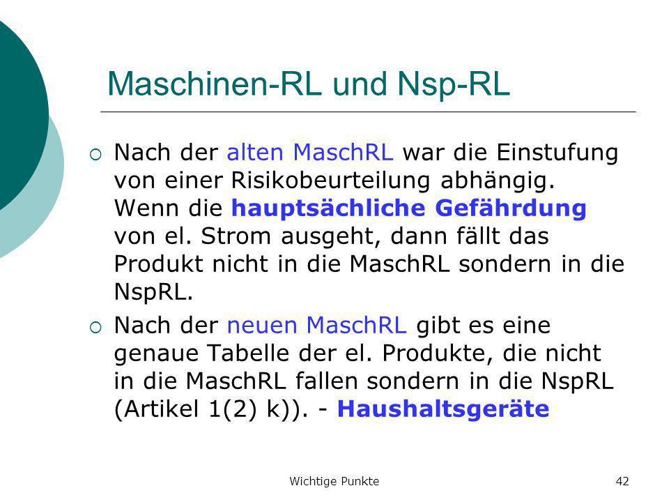 Wichtige Punkte42 Maschinen-RL und Nsp-RL Nach der alten MaschRL war die Einstufung von einer Risikobeurteilung abhängig. Wenn die hauptsächliche Gefä