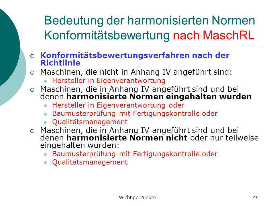 Wichtige Punkte49 Bedeutung der harmonisierten Normen Konformitätsbewertung nach MaschRL Konformitätsbewertungsverfahren nach der Richtlinie Maschinen