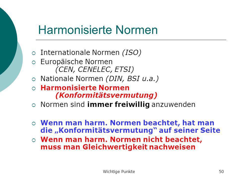 Wichtige Punkte50 Harmonisierte Normen Internationale Normen (ISO) Europäische Normen (CEN, CENELEC, ETSI) Nationale Normen (DIN, BSI u.a.) Harmonisie