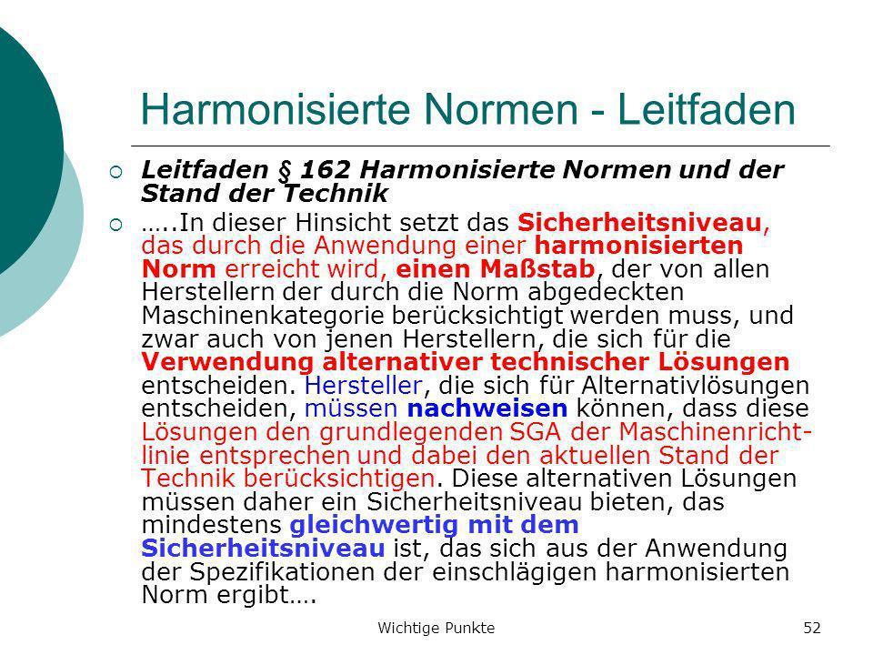 Wichtige Punkte52 Harmonisierte Normen - Leitfaden Leitfaden § 162 Harmonisierte Normen und der Stand der Technik …..In dieser Hinsicht setzt das Sich