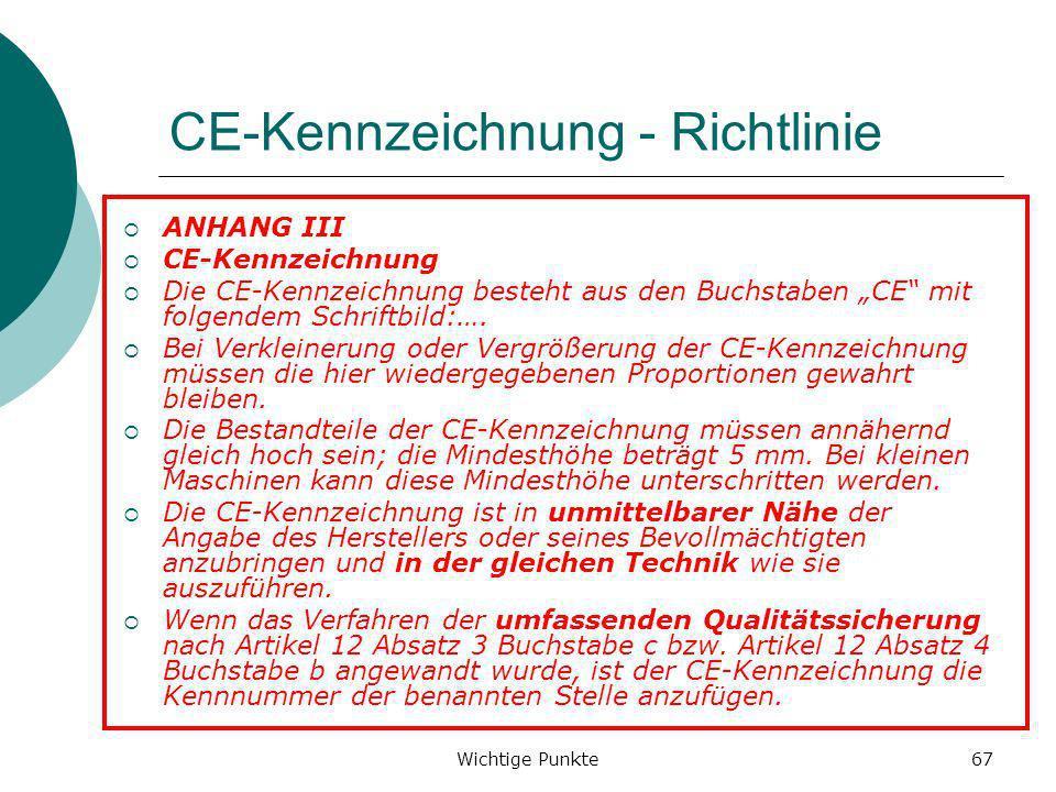 Wichtige Punkte67 CE-Kennzeichnung - Richtlinie ANHANG III CE-Kennzeichnung Die CE-Kennzeichnung besteht aus den Buchstaben CE mit folgendem Schriftbi