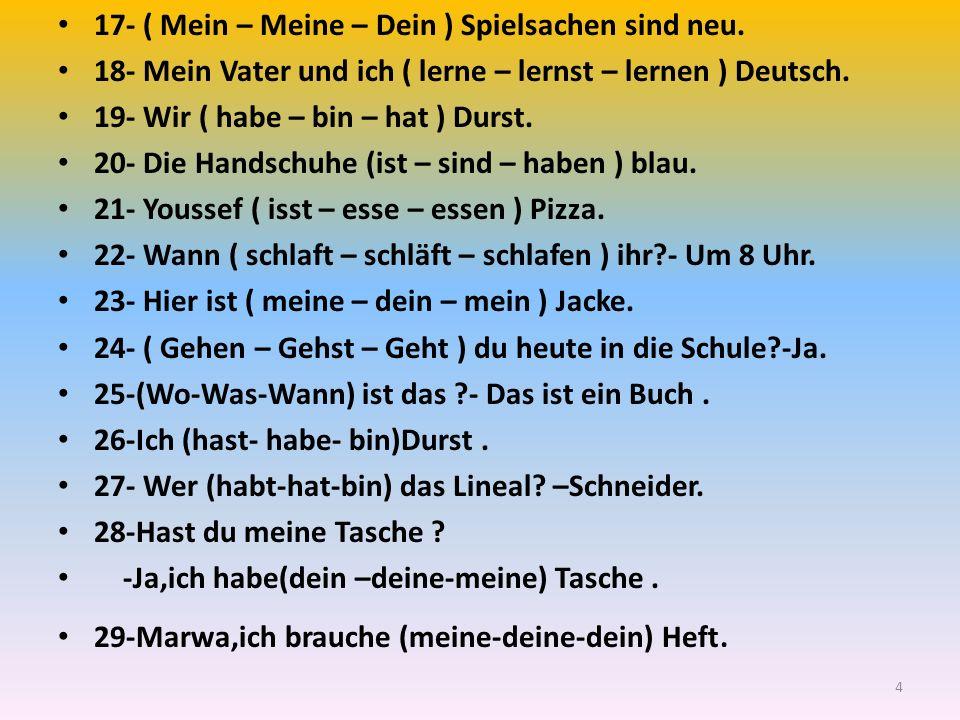 17- ( Mein – Meine – Dein ) Spielsachen sind neu. 18- Mein Vater und ich ( lerne – lernst – lernen ) Deutsch. 19- Wir ( habe – bin – hat ) Durst. 20-