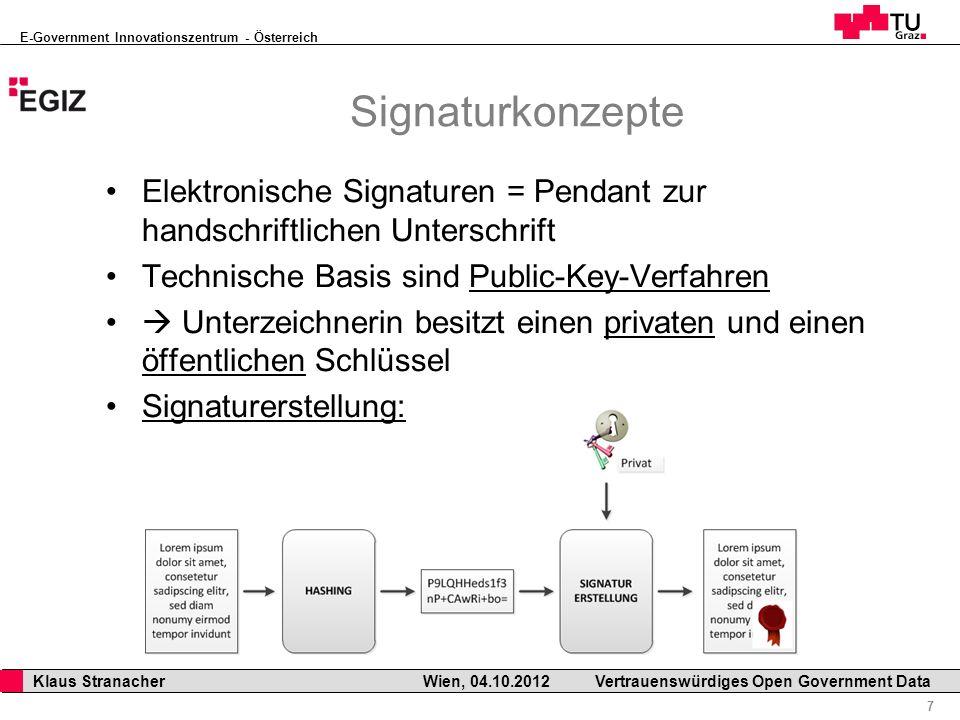 E-Government Innovationszentrum - Österreich 7 Klaus Stranacher Wien, 04.10.2012Vertrauenswürdiges Open Government Data Signaturkonzepte Elektronische Signaturen = Pendant zur handschriftlichen Unterschrift Technische Basis sind Public-Key-Verfahren Unterzeichnerin besitzt einen privaten und einen öffentlichen Schlüssel Signaturerstellung:
