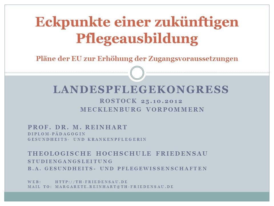 LANDESPFLEGEKONGRESS ROSTOCK 25.10.2012 MECKLENBURG VORPOMMERN PROF. DR. M. REINHART DIPLOM-PÄDAGOGIN GESUNDHEITS- UND KRANKENPFLEGERIN THEOLOGISCHE H