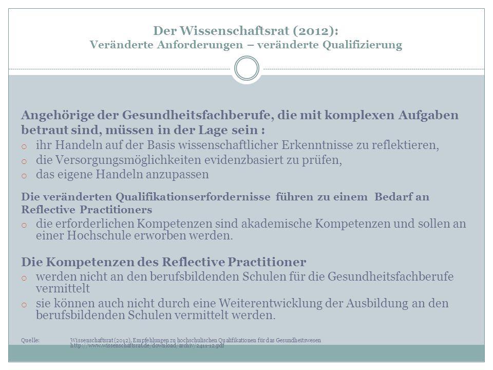 Der Wissenschaftsrat (2012): Veränderte Anforderungen – veränderte Qualifizierung Angehörige der Gesundheitsfachberufe, die mit komplexen Aufgaben bet
