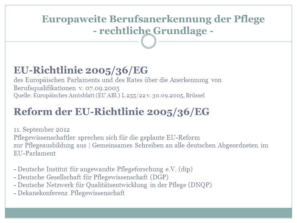 EU-Richtlinie 2005/36/EG des Europäischen Parlaments und des Rates über die Anerkennung von Berufsqualifikationen v. 07.09.2005 Quelle: Europäisches A