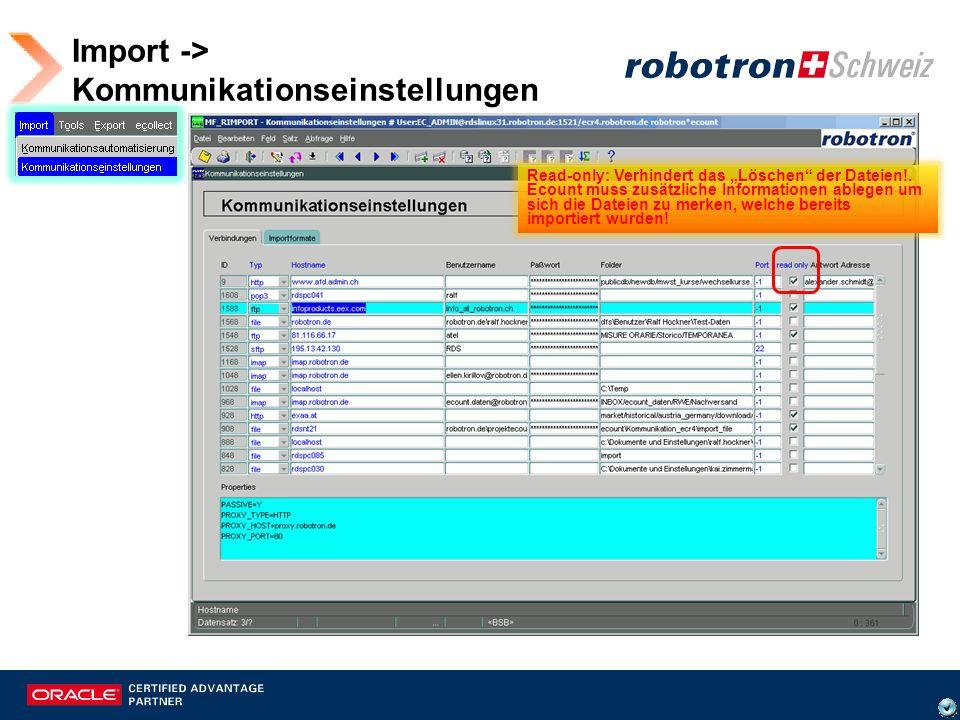 Kommunikationseinstellungen - Formate Format wie in datenimport.ini Import-Verzeichnis wie in datenimport.ini
