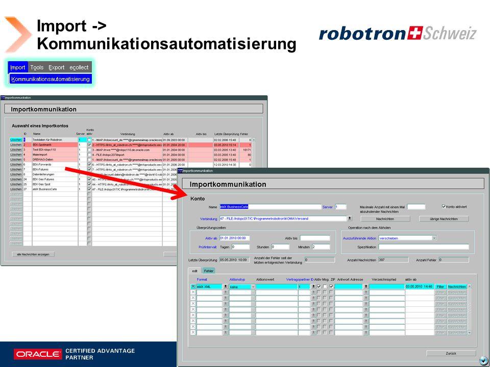 Import-Kommunikation - Konten Kommunikations- einstellungen - Format Kommunikations- einstellungen - Verbindung Für Ermittelung von Antwort- Adressen erforderlich