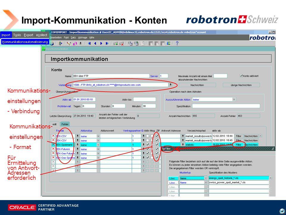 Import-Kommunikation - Konten Kommunikations- einstellungen - Format Kommunikations- einstellungen - Verbindung Für Ermittelung von Antwort- Adressen