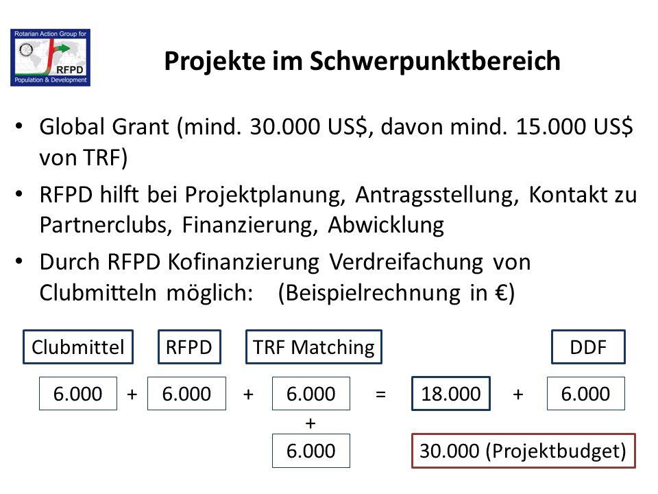 Projekte im Schwerpunktbereich Global Grant (mind. 30.000 US$, davon mind. 15.000 US$ von TRF) RFPD hilft bei Projektplanung, Antragsstellung, Kontakt