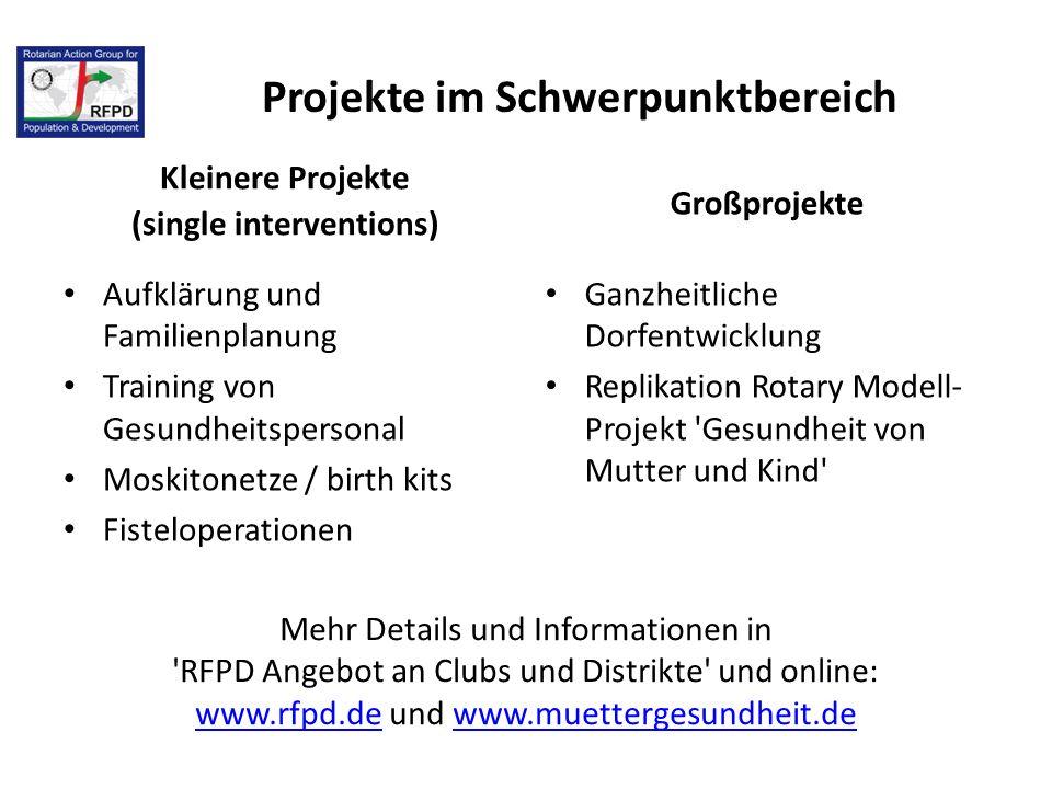 Kleinere Projekte (single interventions) Aufklärung und Familienplanung Training von Gesundheitspersonal Moskitonetze / birth kits Fisteloperationen G