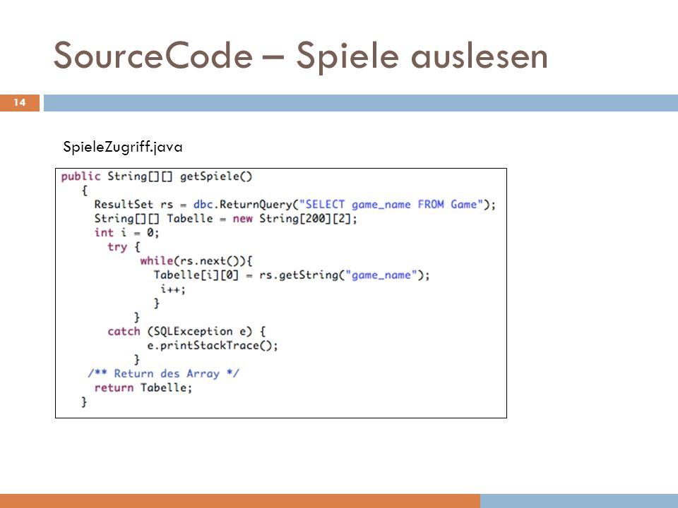 SourceCode – Spiele auslesen SpieleZugriff.java 14