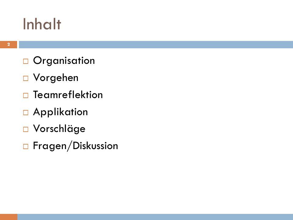 Inhalt Organisation Vorgehen Teamreflektion Applikation Vorschläge Fragen/Diskussion 2