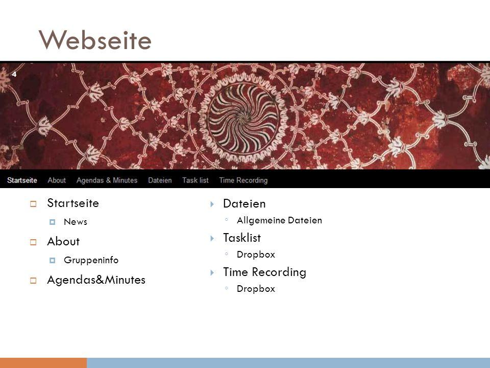 Webseite Startseite News About Gruppeninfo Agendas&Minutes Dateien Allgemeine Dateien Tasklist Dropbox Time Recording Dropbox 4