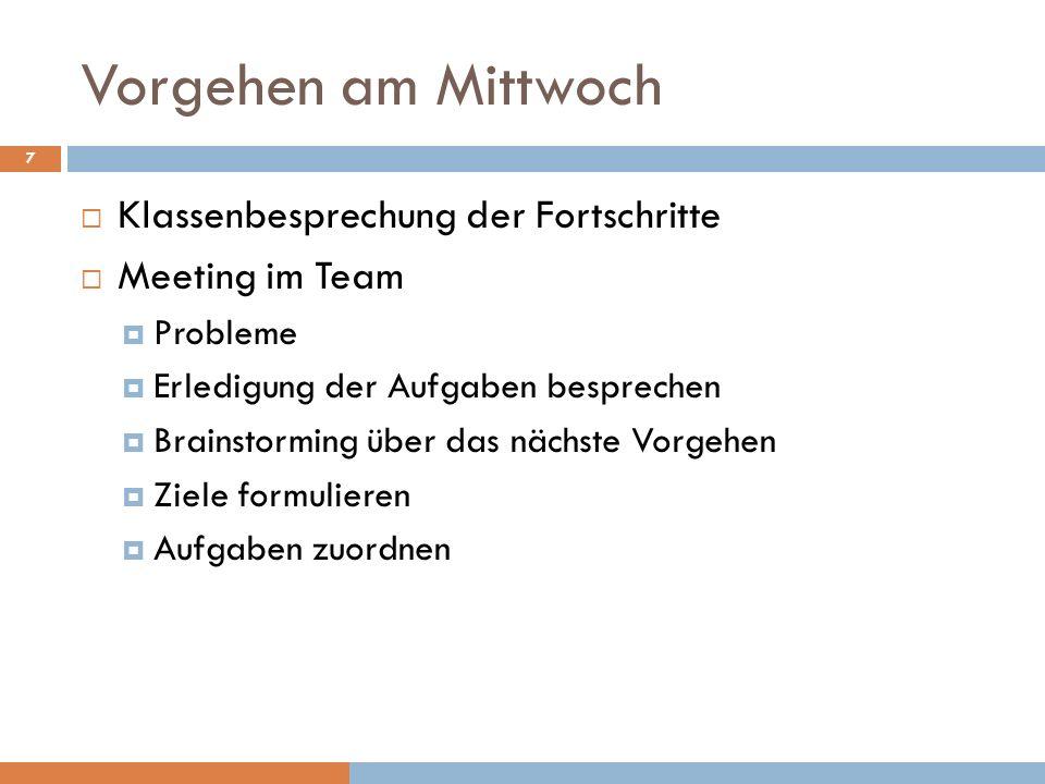 Vorgehen am Mittwoch Klassenbesprechung der Fortschritte Meeting im Team Probleme Erledigung der Aufgaben besprechen Brainstorming über das nächste Vo
