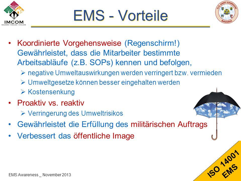 14 ISO 14001 EMS Koordinierte Vorgehensweise (Regenschirm!) Gewährleistet, dass die Mitarbeiter bestimmte Arbeitsabläufe (z.B. SOPs) kennen und befolg