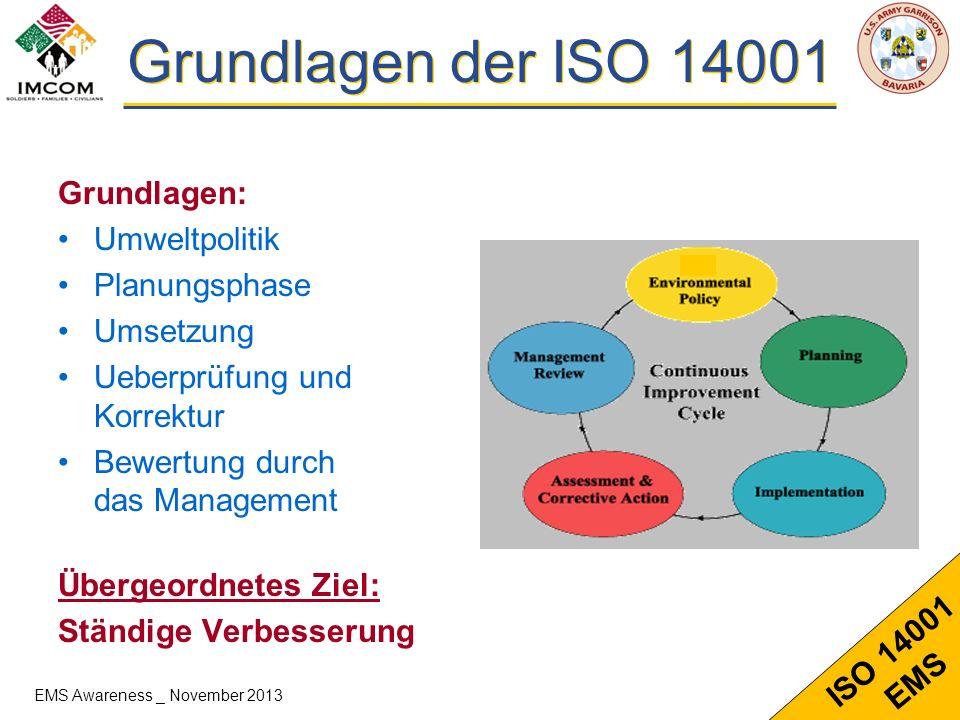 6 ISO 14001 EMS ISO 14001 - Elements 4.3 - Planung 4.3.1Umweltaspelte 4.3.2Gesetzliche Grundlagen 4.3.3Ziele 4.2 – Umweltpolitik (Brief des Garrison Cdrs) 4.4 – Umsetzung und Verantwortlichkeiten 4.4.1Struktur und Verantwort 4.4.2Umweltbewusstsein und Schulungen 4.4.3Kommunikation 4.4.4EMS Documentation 4.4.5Dokumentenlenkung 4.4.6Ablauflenkung 4.4.7Massnahmen im Notfall 4.5 Ueberpruefung 4.5.1 Ueberwachung und Messung 4.5.2 Einhaltung von Rechtsvorschriften 4.5.3 Korrektur und Vorbeugung 4.5.4 Internes Audit 4.6 Management Bewertung EMS Awareness _ November 2013