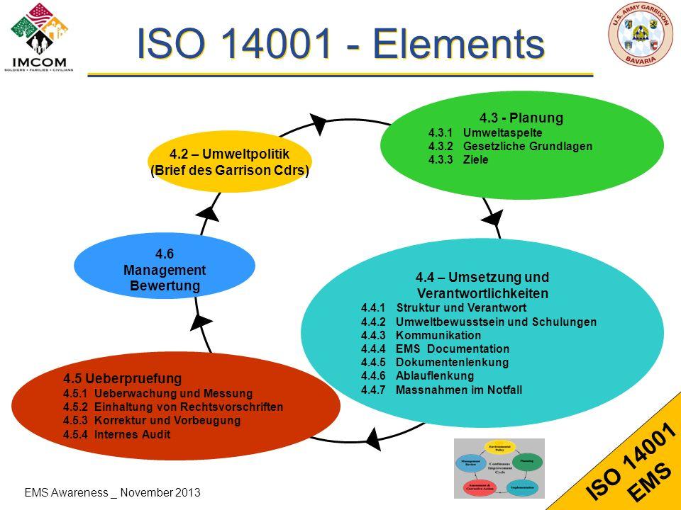 6 ISO 14001 EMS ISO 14001 - Elements 4.3 - Planung 4.3.1Umweltaspelte 4.3.2Gesetzliche Grundlagen 4.3.3Ziele 4.2 – Umweltpolitik (Brief des Garrison C