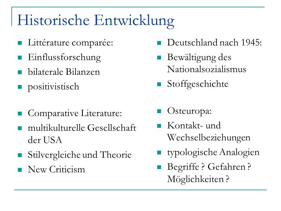 Historische Entwicklung Littérature comparée: Einflussforschung bilaterale Bilanzen positivistisch Comparative Literature: multikulturelle Gesellschaf