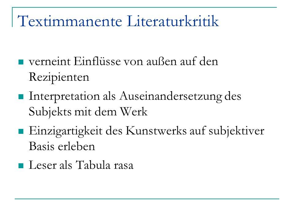 Textimmanente Literaturkritik verneint Einflüsse von außen auf den Rezipienten Interpretation als Auseinandersetzung des Subjekts mit dem Werk Einziga