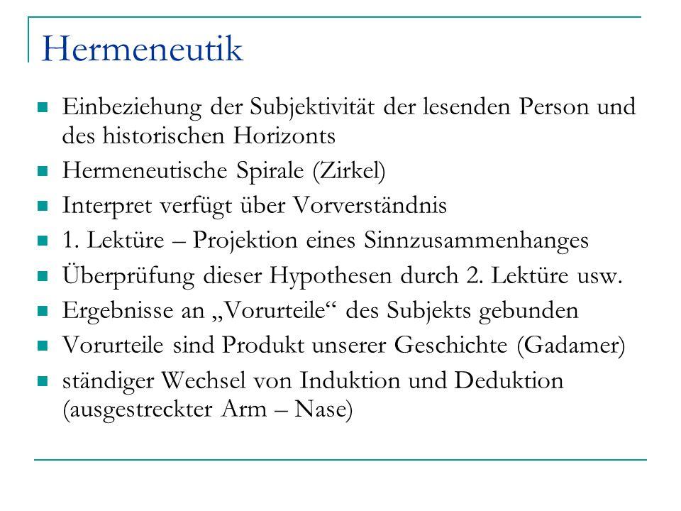 Hermeneutik Einbeziehung der Subjektivität der lesenden Person und des historischen Horizonts Hermeneutische Spirale (Zirkel) Interpret verfügt über V