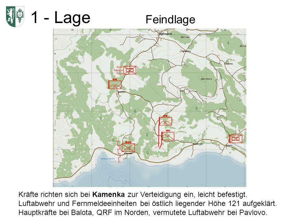 1 - Lage Feindlage Kräfte richten sich bei Kamenka zur Verteidigung ein, leicht befestigt.