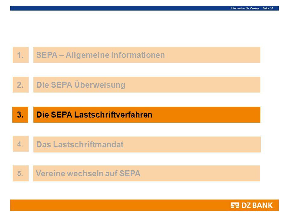 Information für Vereine Seite 10 10 1.SEPA – Allgemeine Informationen 3.Die SEPA Lastschriftverfahren Das Lastschriftmandat 4. 2.Die SEPA Überweisung