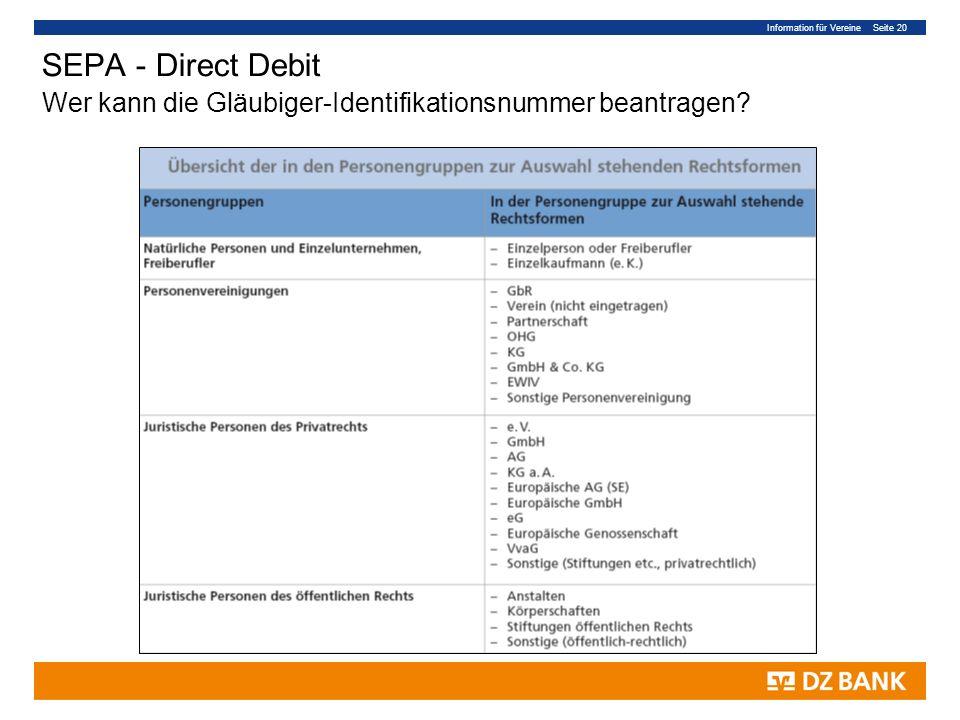 Information für Vereine Seite 20 SEPA - Direct Debit Wer kann die Gläubiger-Identifikationsnummer beantragen?