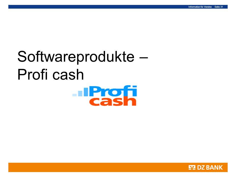 Information für Vereine Seite 31 Softwareprodukte – Profi cash